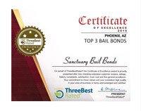 bail bond agent threebest award certificate